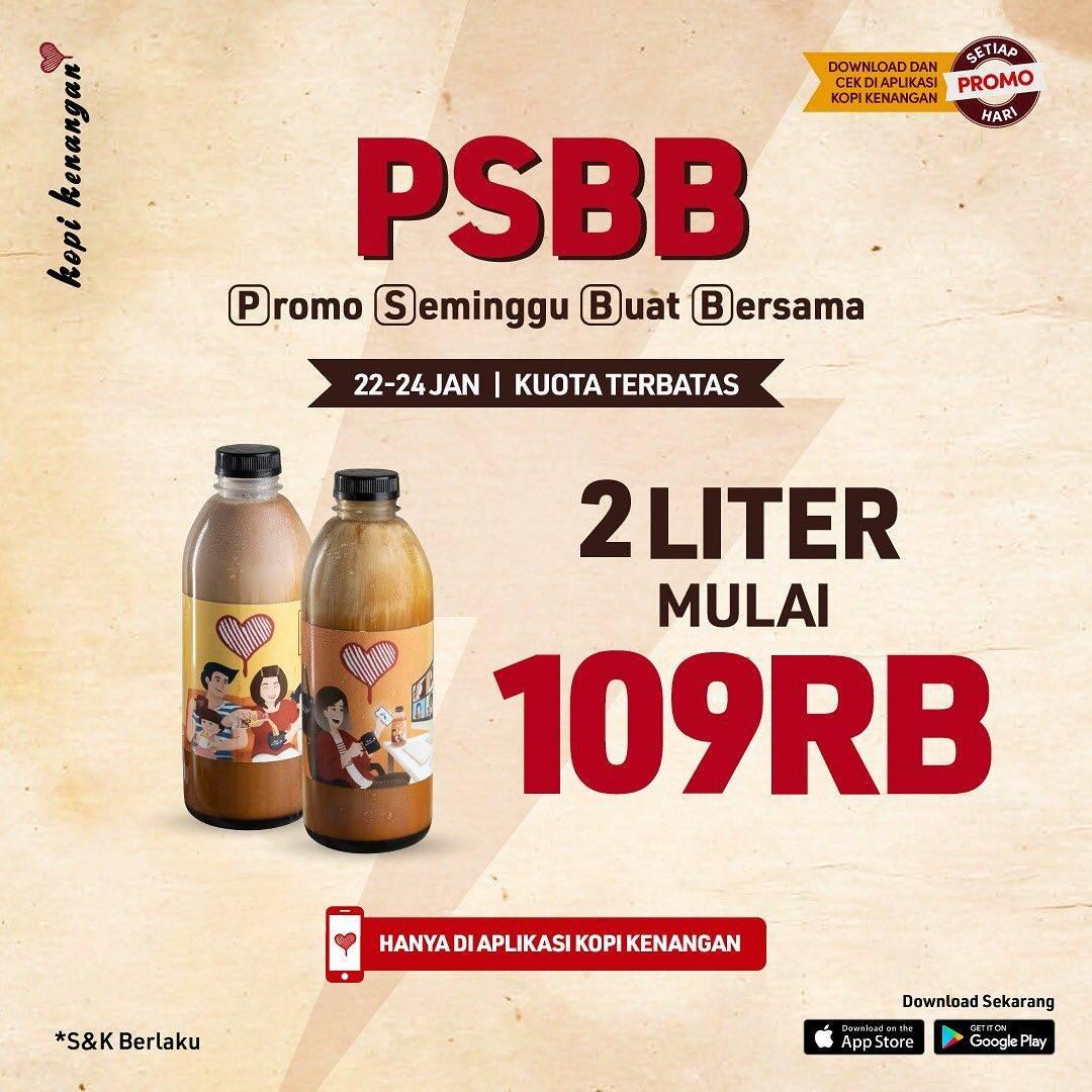 Diskon Kopi Kenangan Promo Seminggu Buat Bersama - 2 Liter Mulai Dari Rp. 109.000