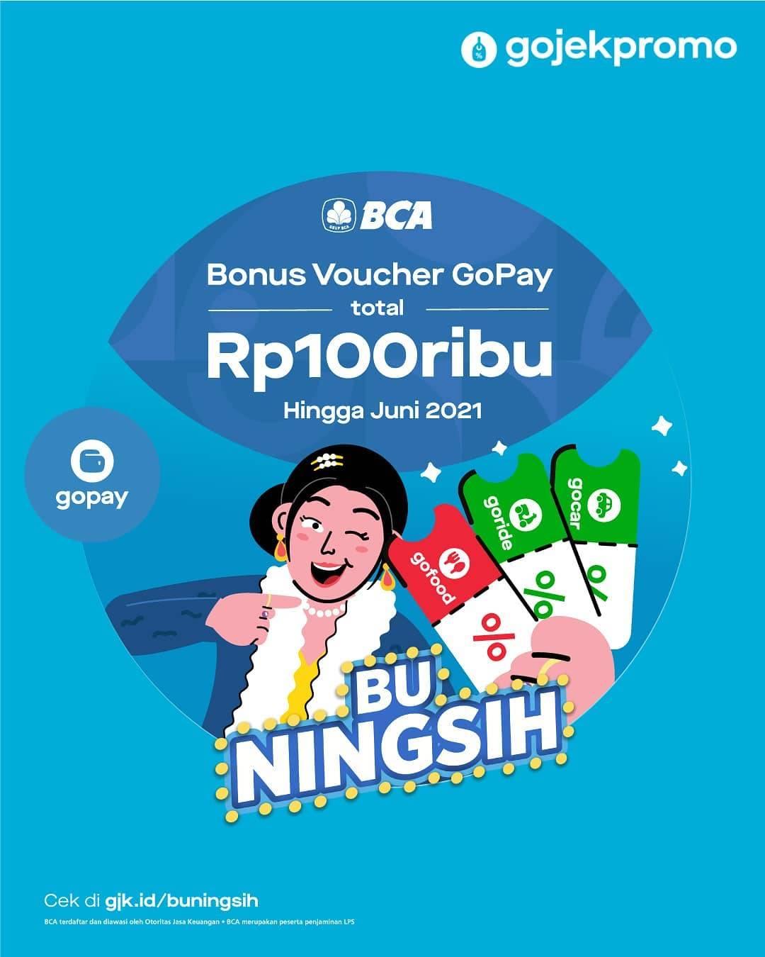 Diskon Gojek Promo Bonus Voucher Gopay Total Rp. 100.000 Dari BCA