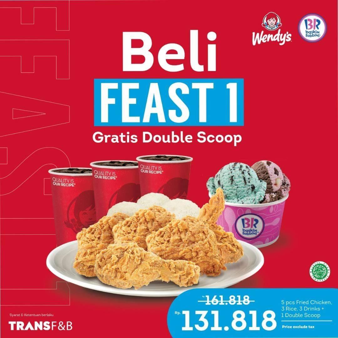 Diskon Wendys Beli Feast 1 Gratis Double Scoop Baskin Robbins