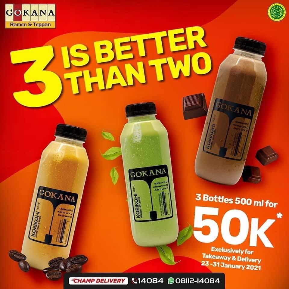 Diskon Gokana Promo 3 Bottles Beverages 500ml Only For Rp. 50.000