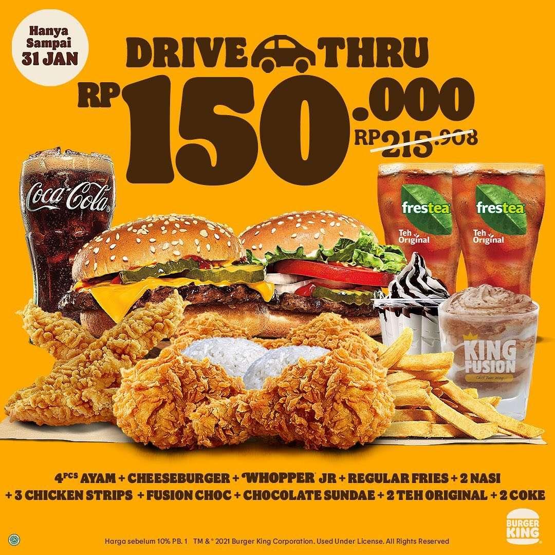 Diskon Burger King Diskon 50% Untuk Pembelian Drive Thru