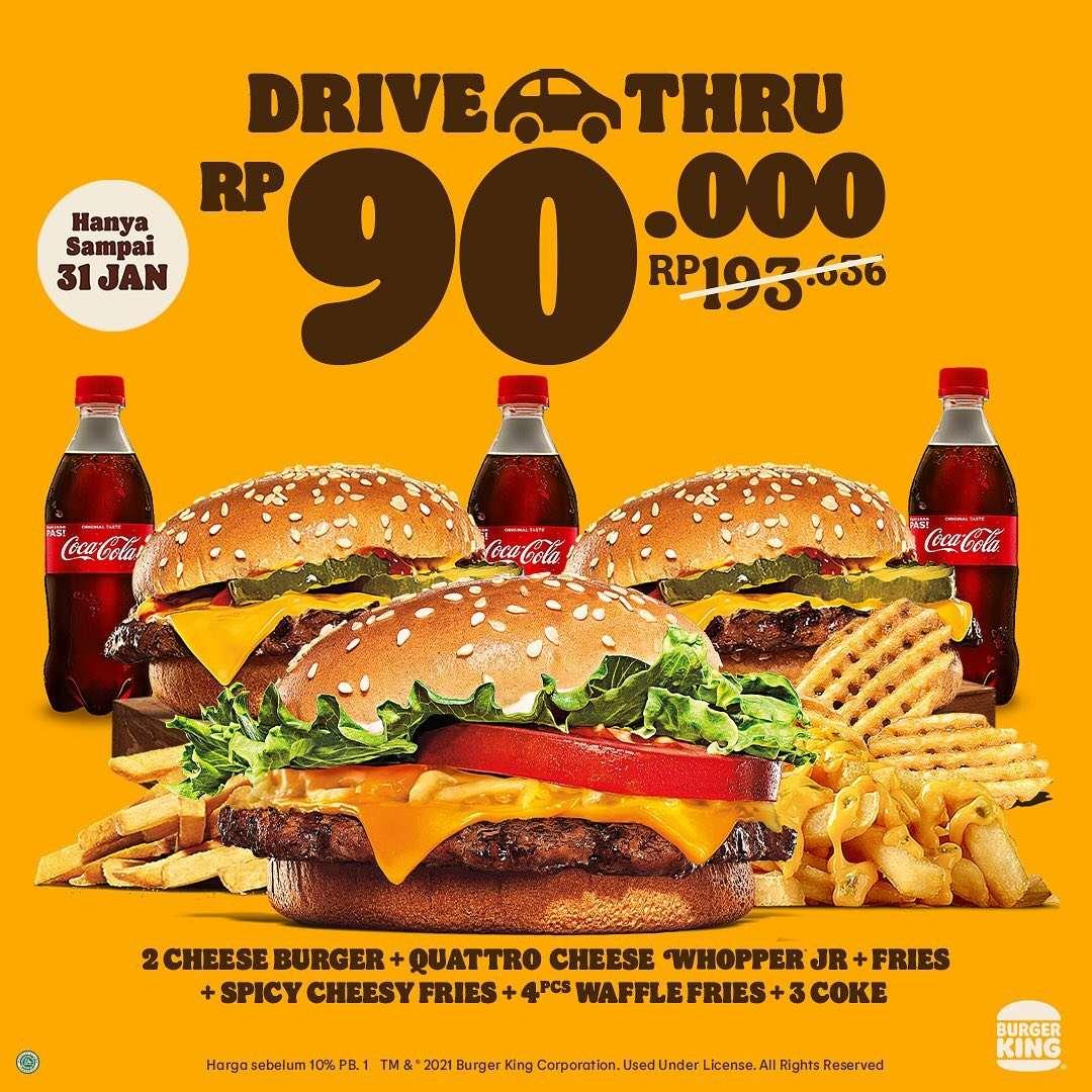 Promo diskon Burger King Diskon 50% Untuk Pembelian Drive Thru