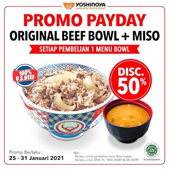 Diskon Yoshinoya Promo Payday Discount 50% Off On Original Beef Bowl + Miso
