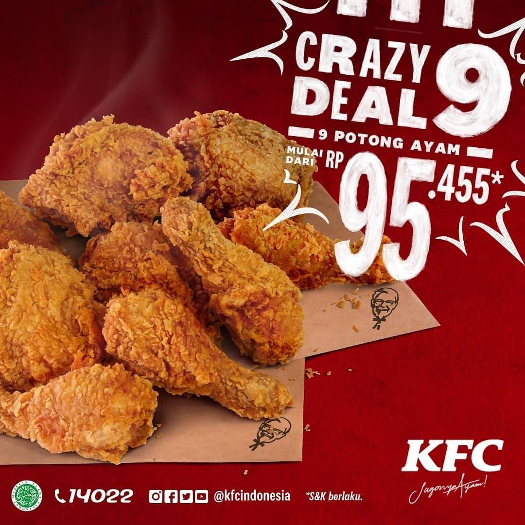 Diskon KFC Crazy Deal 9 Potong Ayam Mulai Dari Rp. 95.455