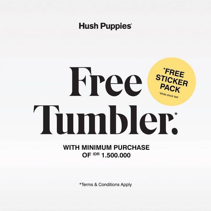 Diskon Hush Puppies Free Tumbler + Sticker Pack