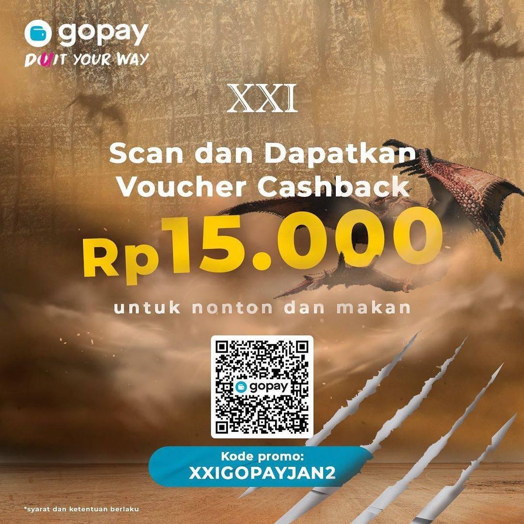 Diskon XXI Voucher Cashback Rp.15.000 Gopay