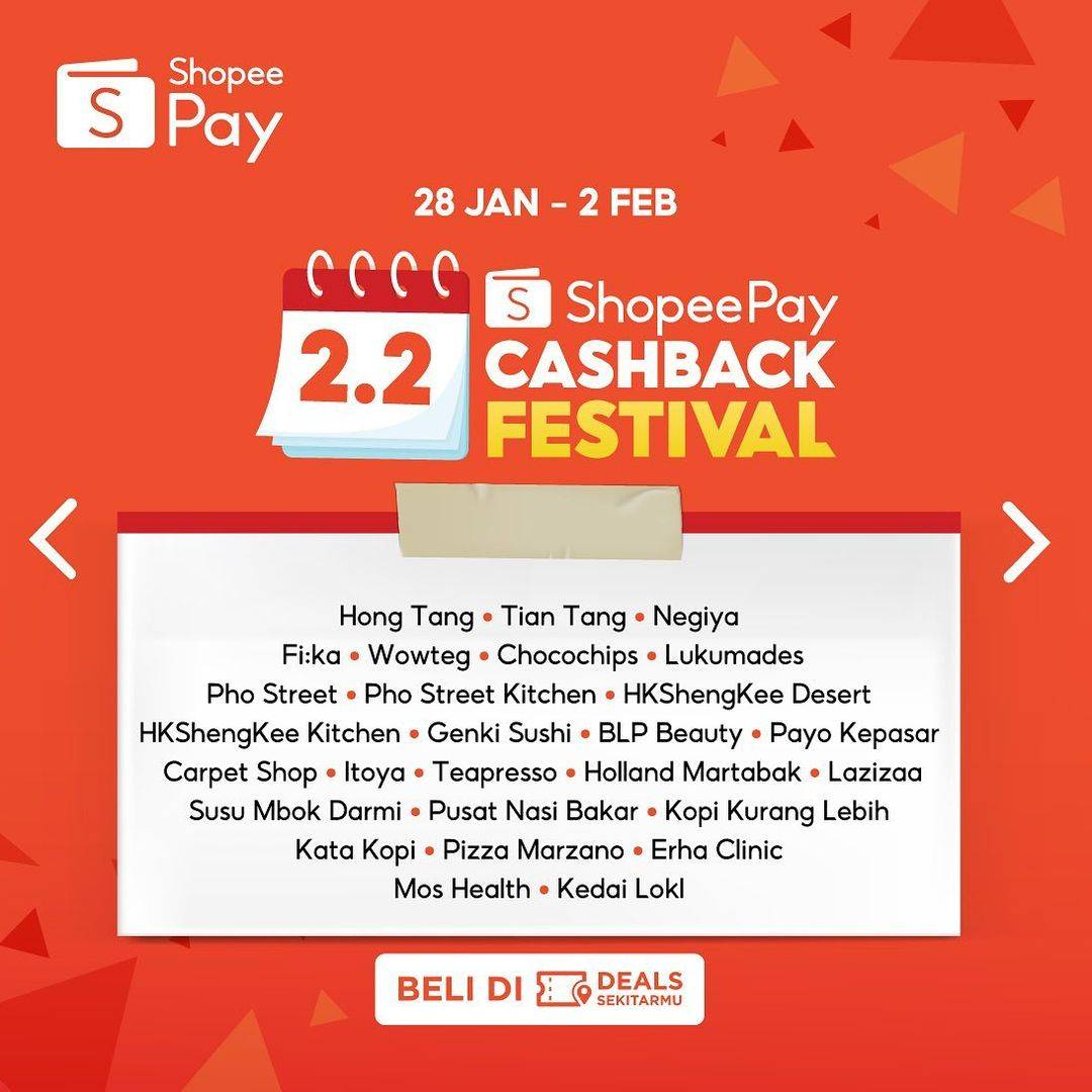 Promo diskon Shopeepay 2.2 Cashback Festival