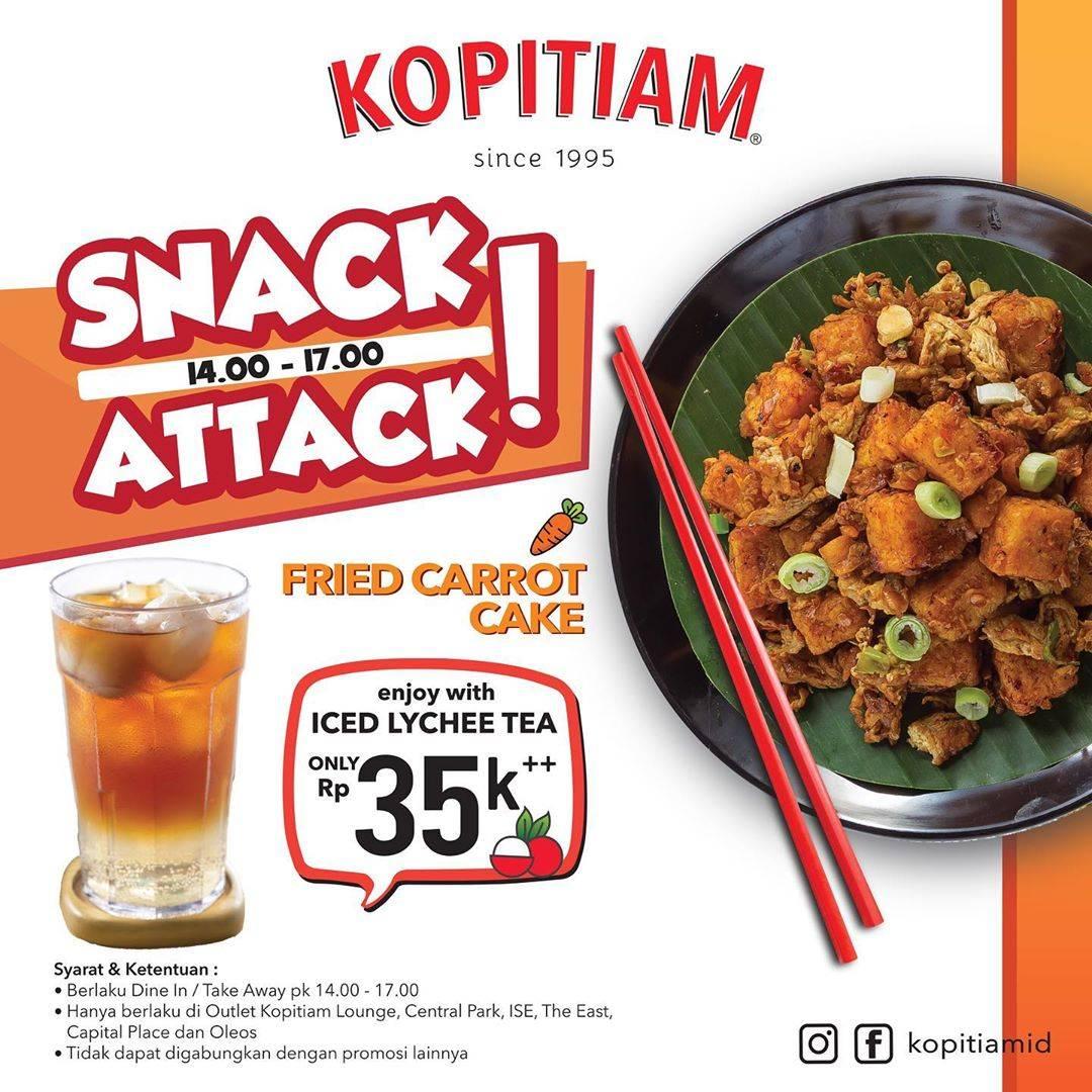 Kopitiam Snack Attack Fried Carrot Cake + Iced Lychee Tea Hanya Rp. 35.000