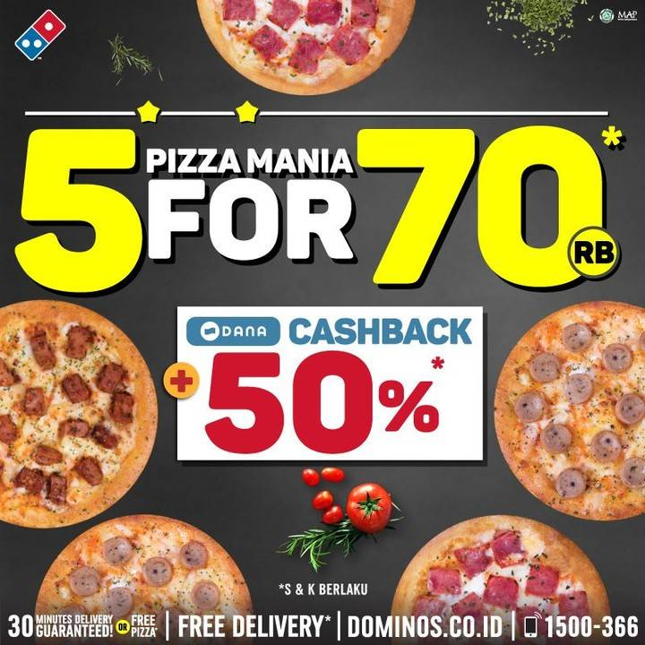 Diskon Domino's Pizza Promo Special Paket 5 Pizza cuma Rp. 70.000