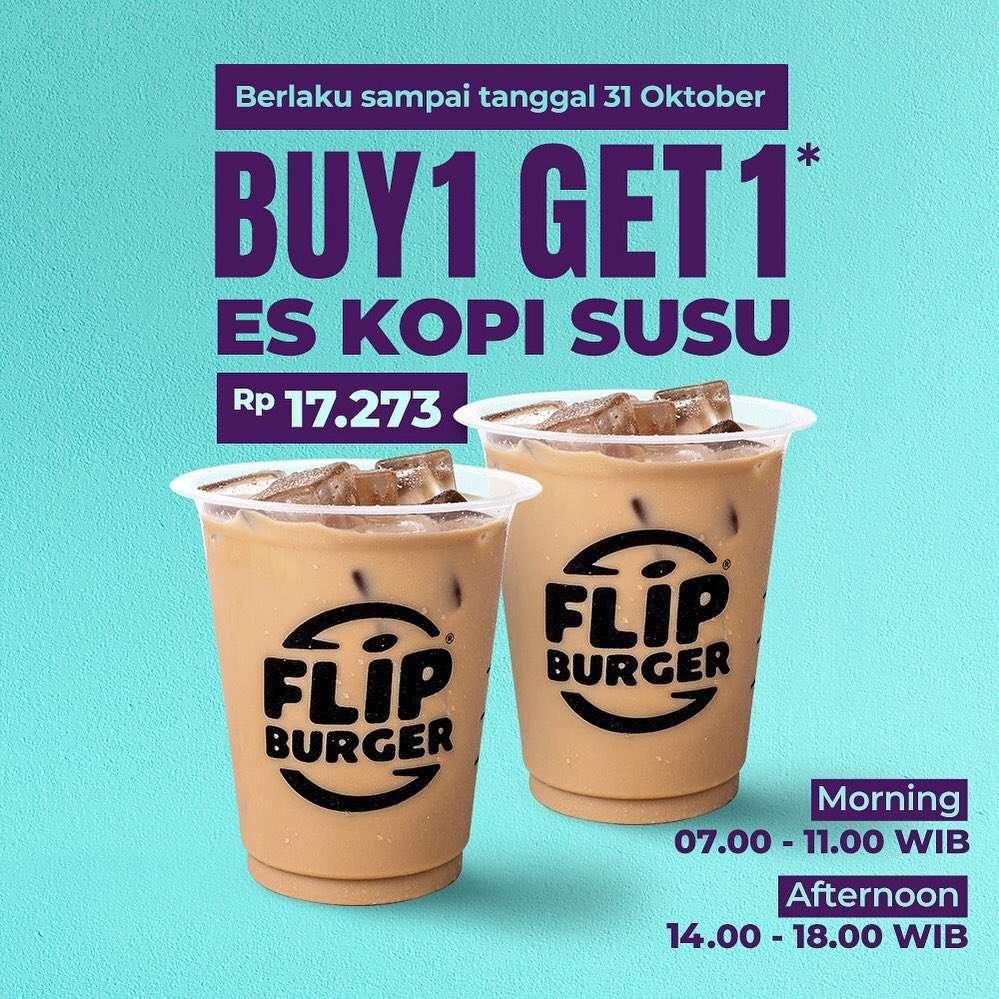Flip Burger Promo Buy 1 Get 1 Es Kopi Susu Rp 17.273*