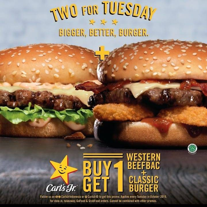 Carls Jr Promo Two For Tuesday Gratis Classic Burger with Cheese