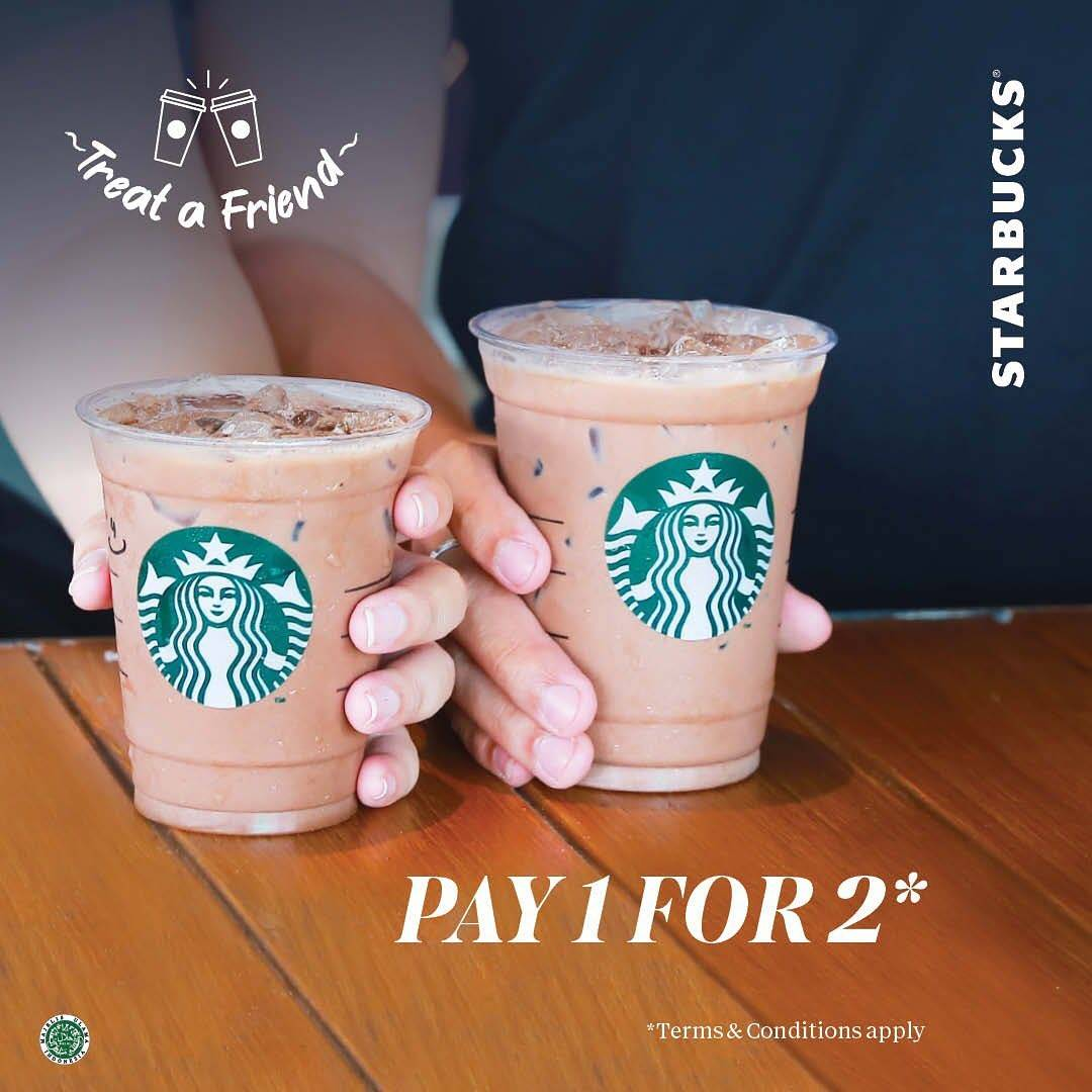 STARBUCKS Treat a Friend! Buy 1 Grande Get 1 Tall Beverage dengan KUPON LINE