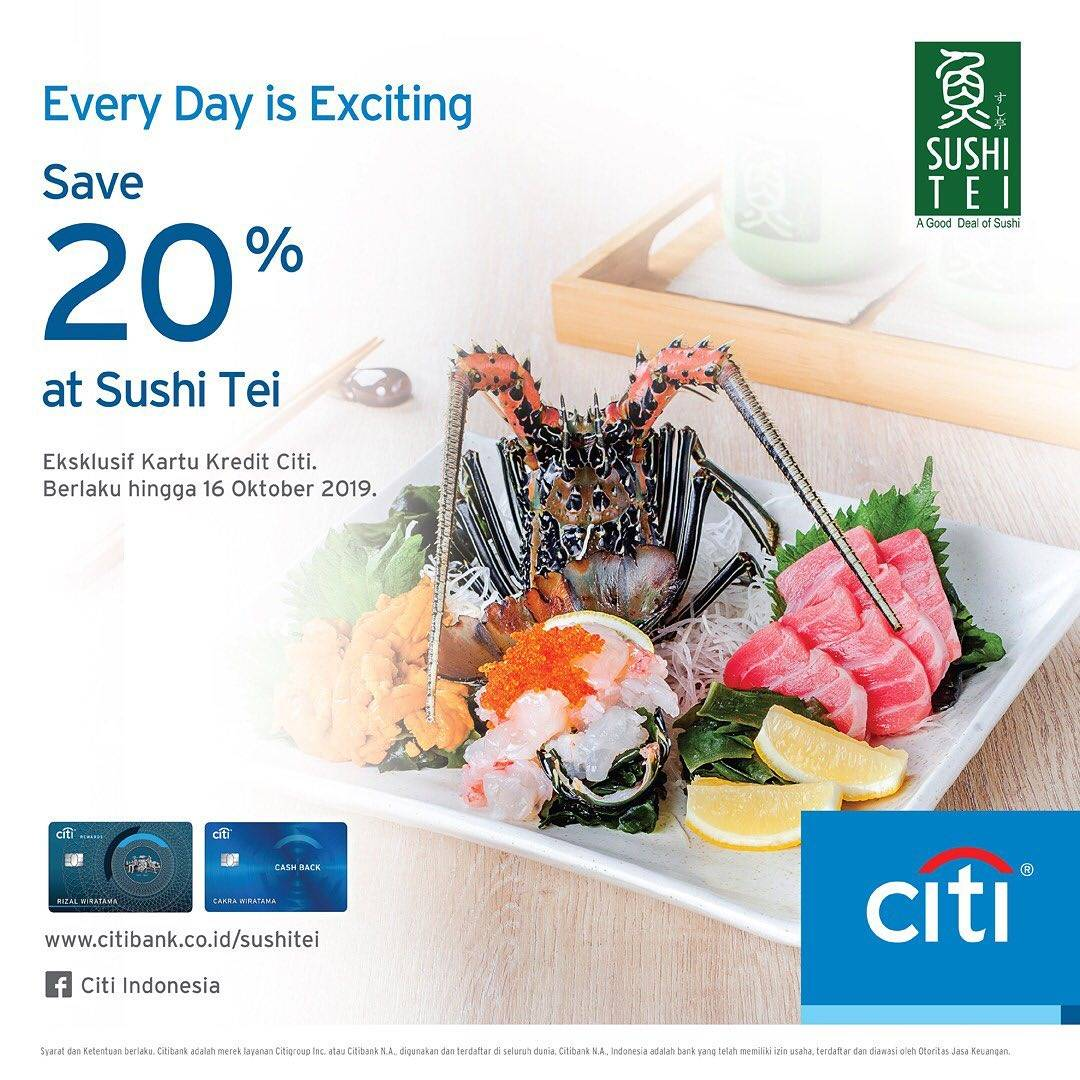 Sushi Tei Promo DISKON 20% dengan KARTU KREDIT CITIBANK