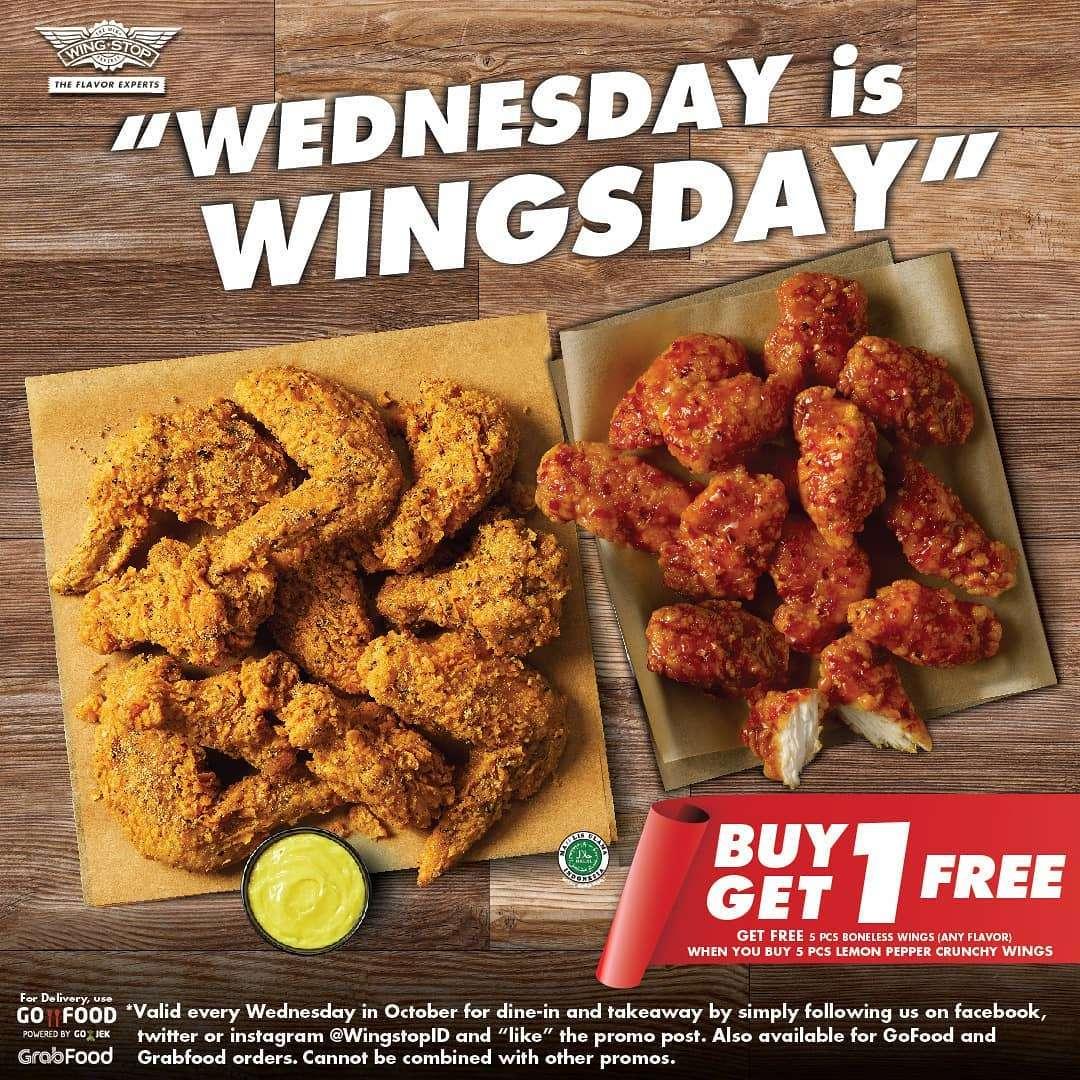 Diskon WINGSTOP Wednesday is Wingsday BUY 1 Get 1 FREE!