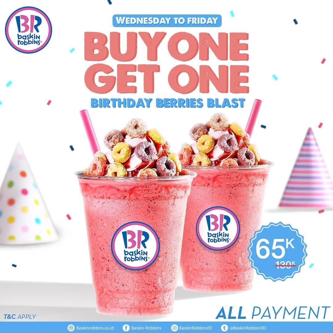 BASKIN ROBBINS Promo BELI 1 GRATIS 1 untuk Birthday Berries Blast