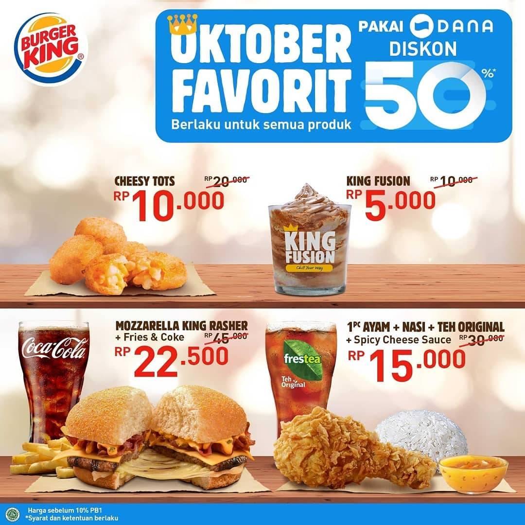 Diskon Burger King Promo Cashback 50% Untuk Transaksi Pakai Dana