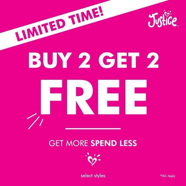 Diskon Justice Promo Buy 2 Get 2 Free