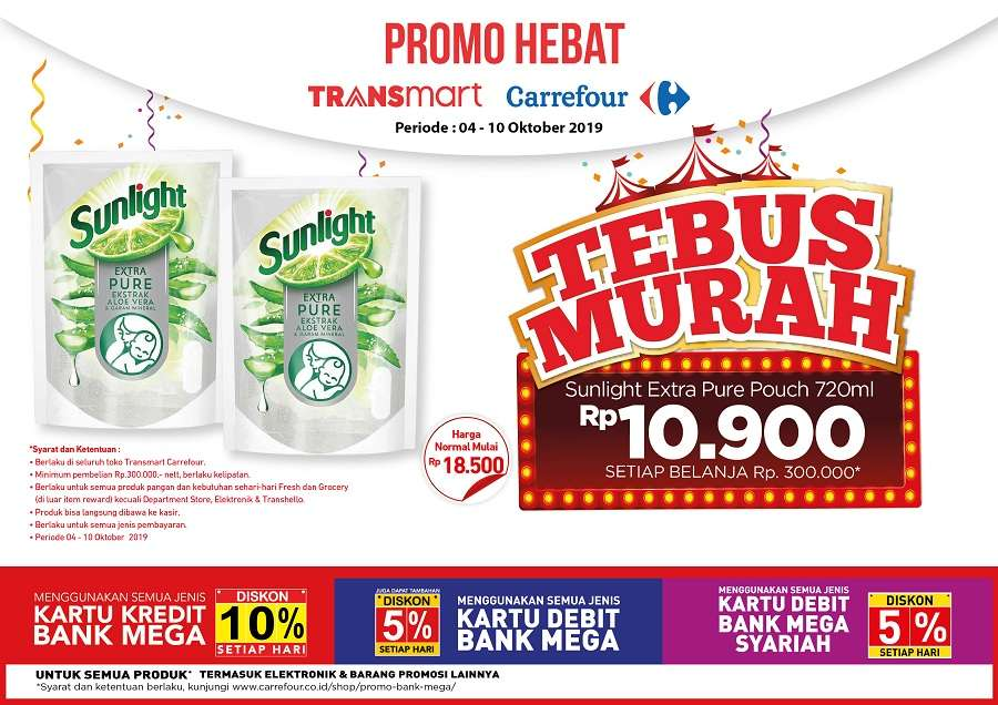 Diskon Transmart Carrefour Promo Tebus Murah Sunlight Extra Pure Pouch 720ml Hanya 10.900