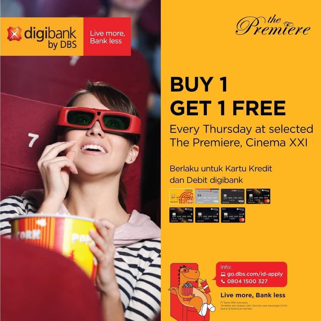 Cinema 21/XXI Promo Buy 1 Get 1 Free di The Premiere setiap hari Kamis Menggunakan Kartu Digibank