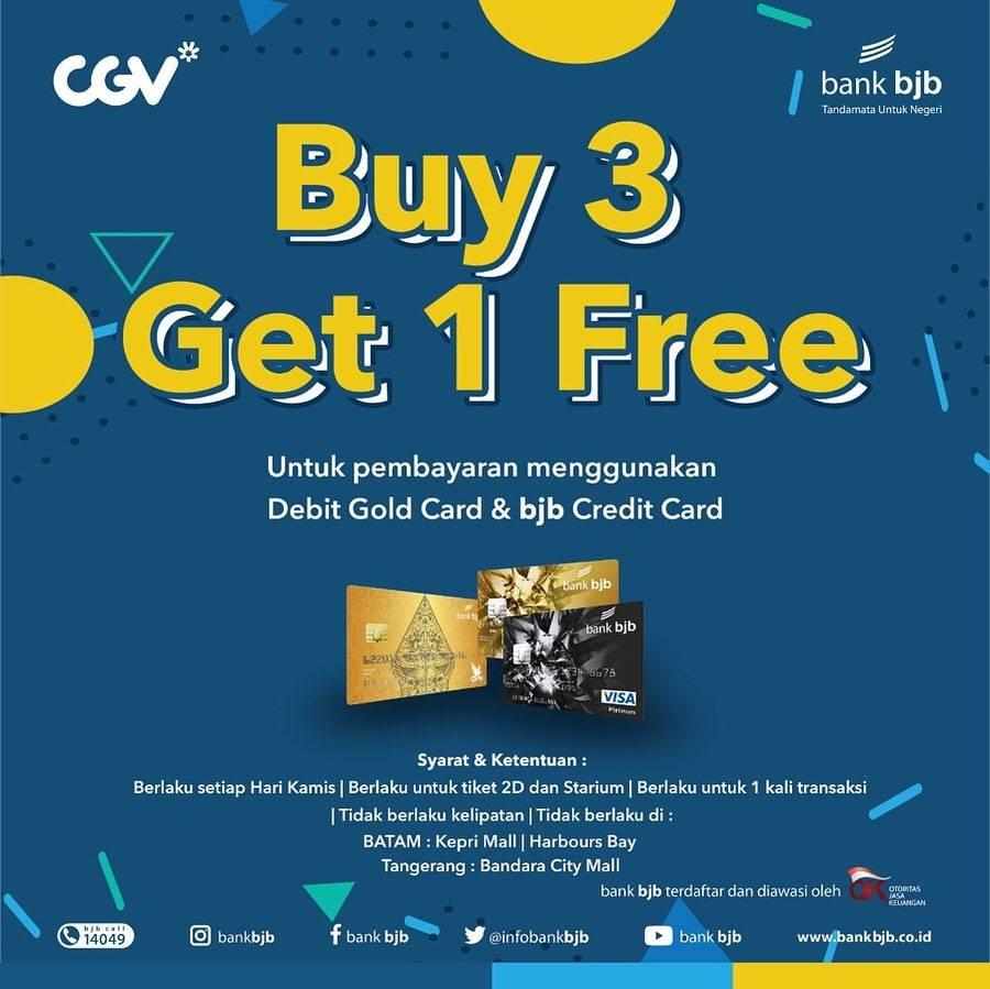 Cgv Cinema Promo Beli 3 Gratis 1 Tiket Nonton dengan Kartu Debit & Kredit Bank Bjb