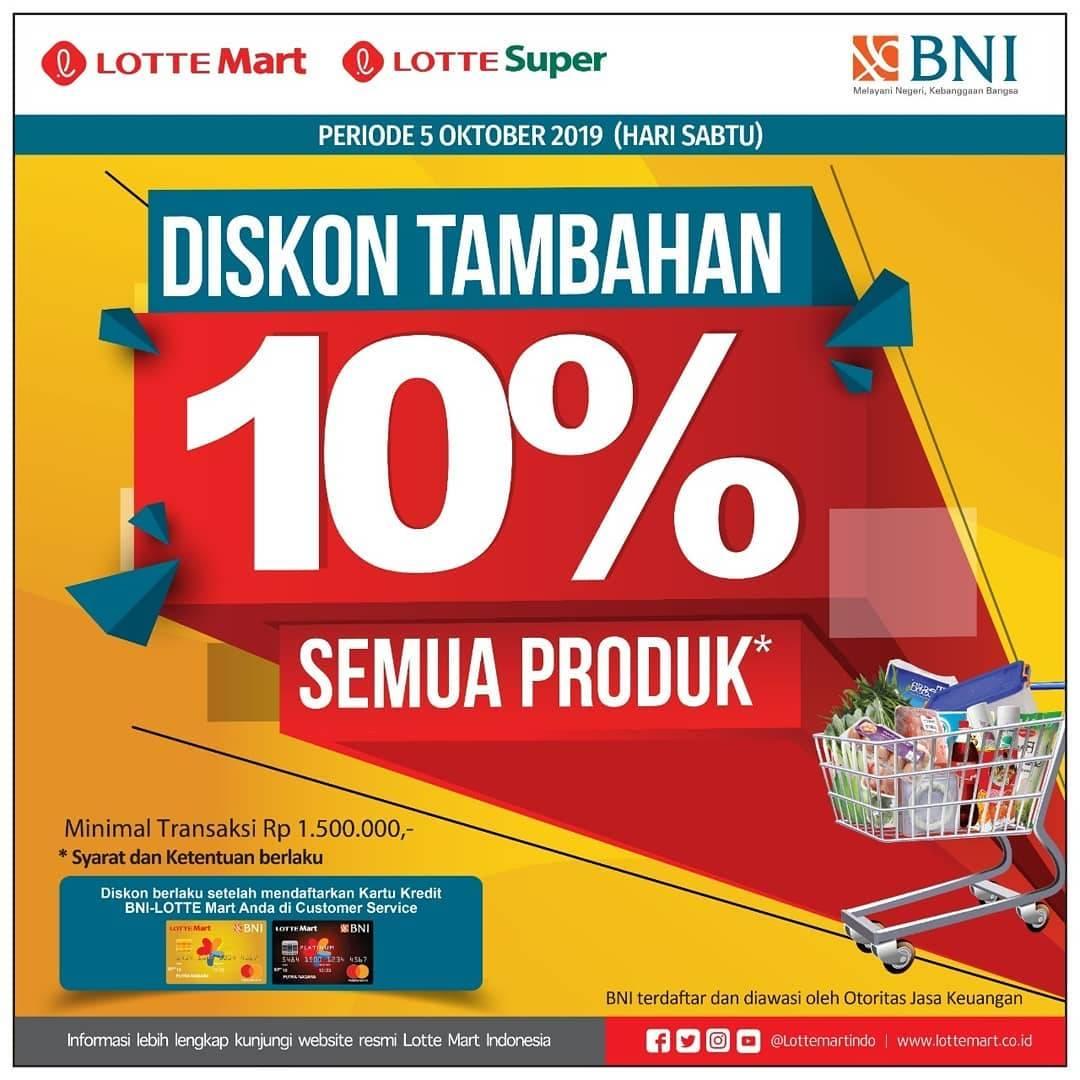 Diskon Lottemart Retail Promo Tambahan Diskon 10% Dengan Kartu Kredit BNI Lottemart