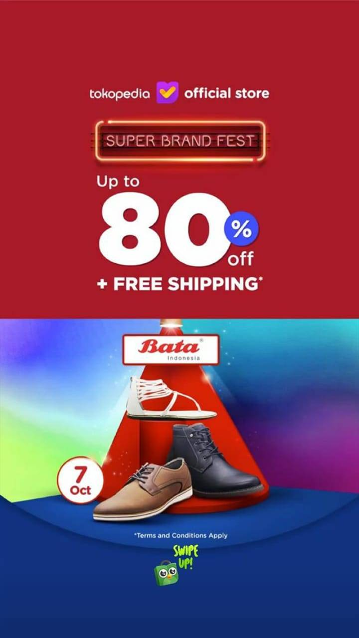 Diskon Tokopedia.com Promo Bata Super Brand Fest, Discount Up To 80% + Extra Deals!