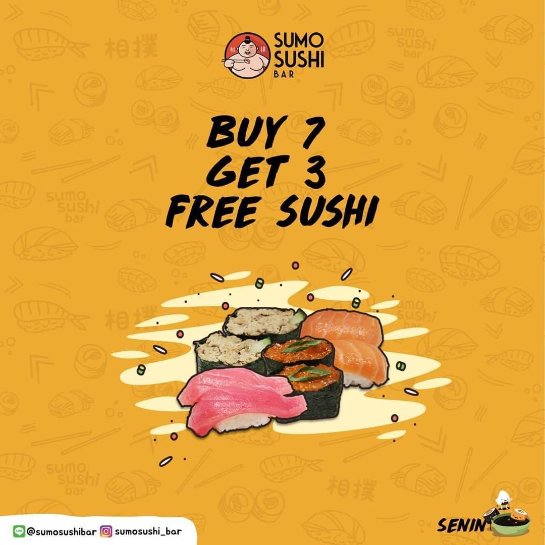 Sumo Sushi Bar Promo Buy 7 Get 3 Sushi