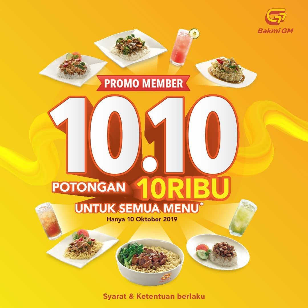 Bakmi GM Promo Member 10.10 Dapatkan Potongan 10 Ribu Untuk Semua Menu