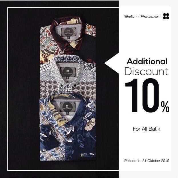 Diskon Salt n Pepper Promo Hari Batik Nasional,Tambahan Diskon 10% Semua Koleksi Batik