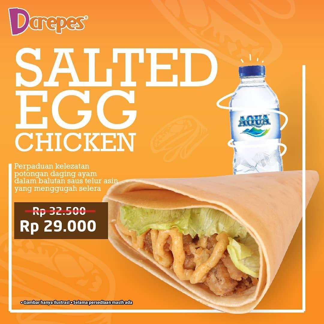Dcrepes Promo Paket Hemat Salted Egg Chicken + Aqua Mulai Rp. 29.000