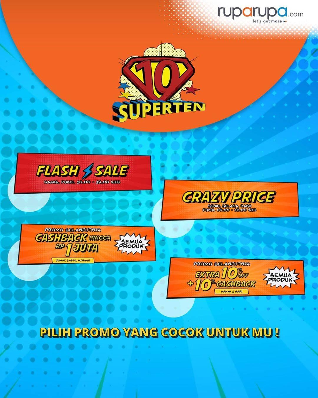 Ruparupa.om Promo 10 Superten! Save Up To 70% + Cashback + Beli 1 Gratis + Tambahan Diskon 100.000!