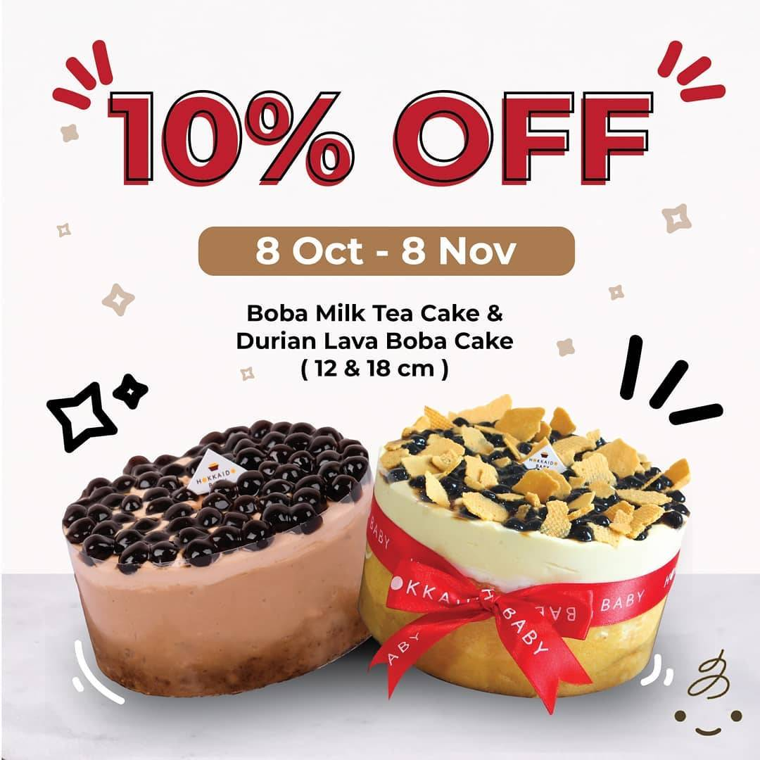 Hokkaido Baby Promo 10% Off For Boba Milk Tea Cake And Durian Lava Boba Cake (12cm and 18cm)