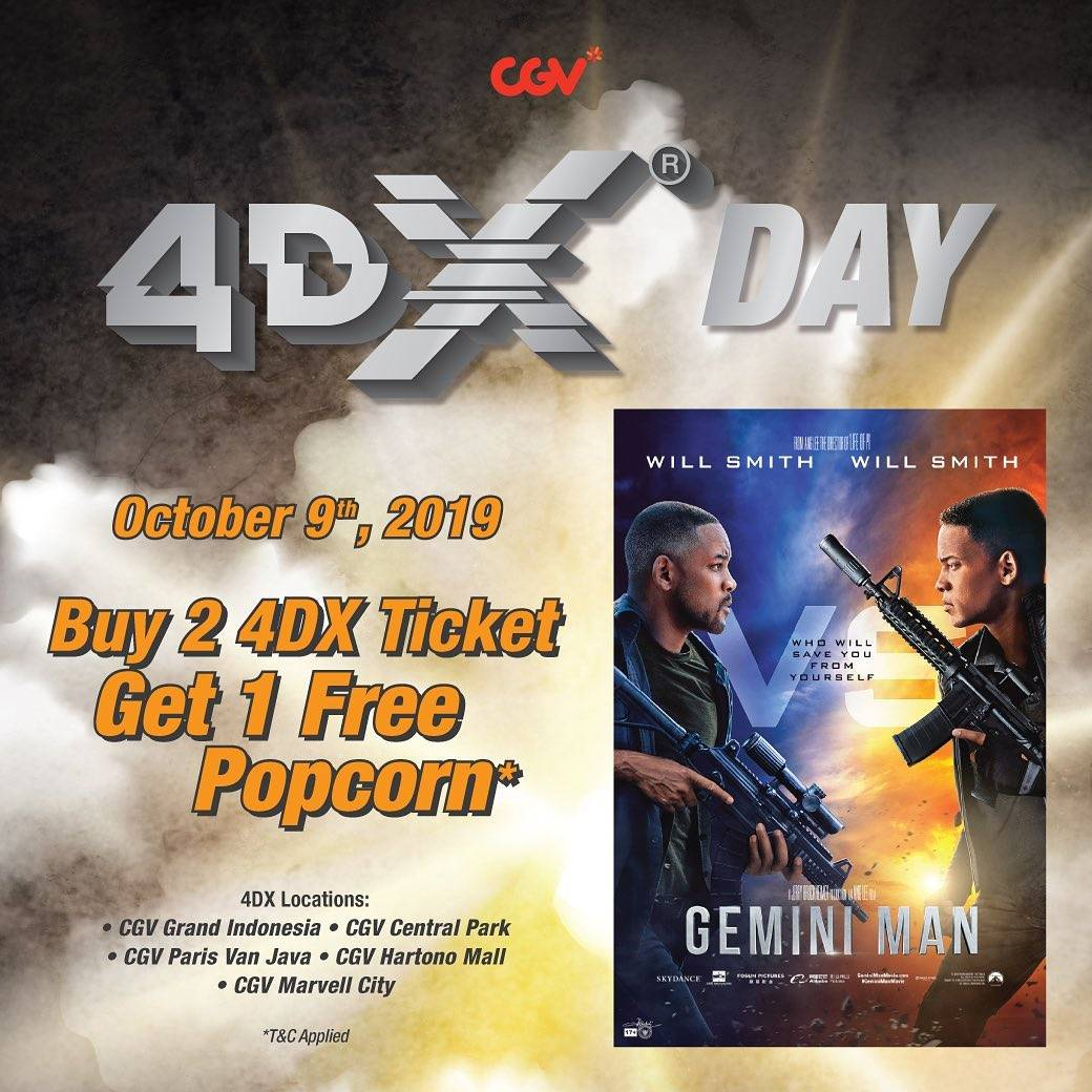 CGV Promo Wednesday Is 4DX Day, Beli 2 Tiket 4DX Gemini Man Dapat 1 Popcorn Gratis