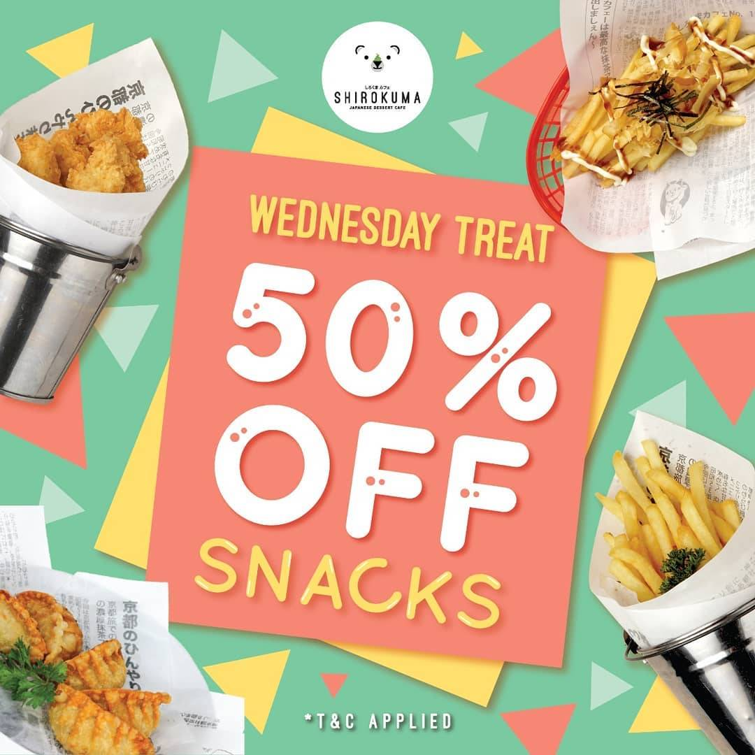 Diskon Cafe Shirokuma Promo Wednesday Treat 50% Off For Snacks