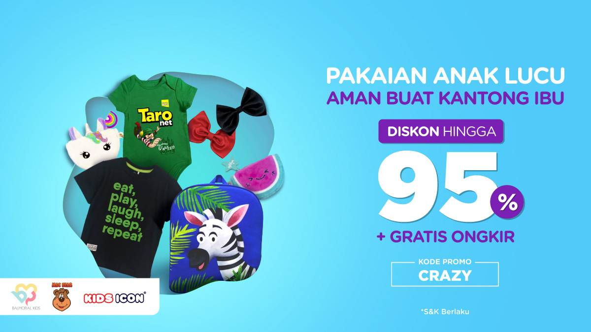 Tokopedia.com Promo Pakaian Anak Lucu Aman Buat Kantong Ibu, Diskon Hingga 95% + Gratis Ongkir!