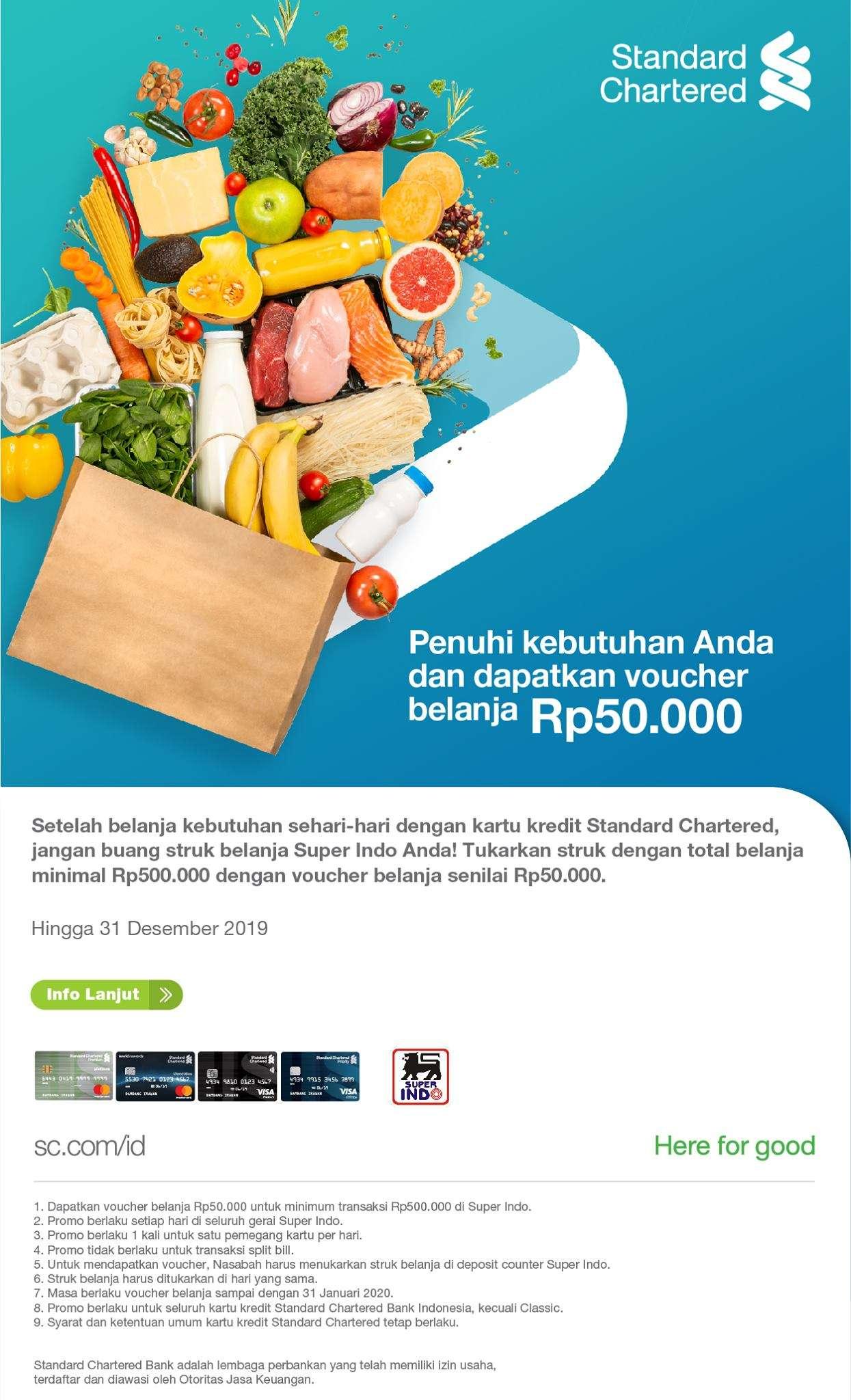 Superindo Promo Gratis Voucher Belanja Rp 50.000 Dengan Kartu Kredit Standard Chartered