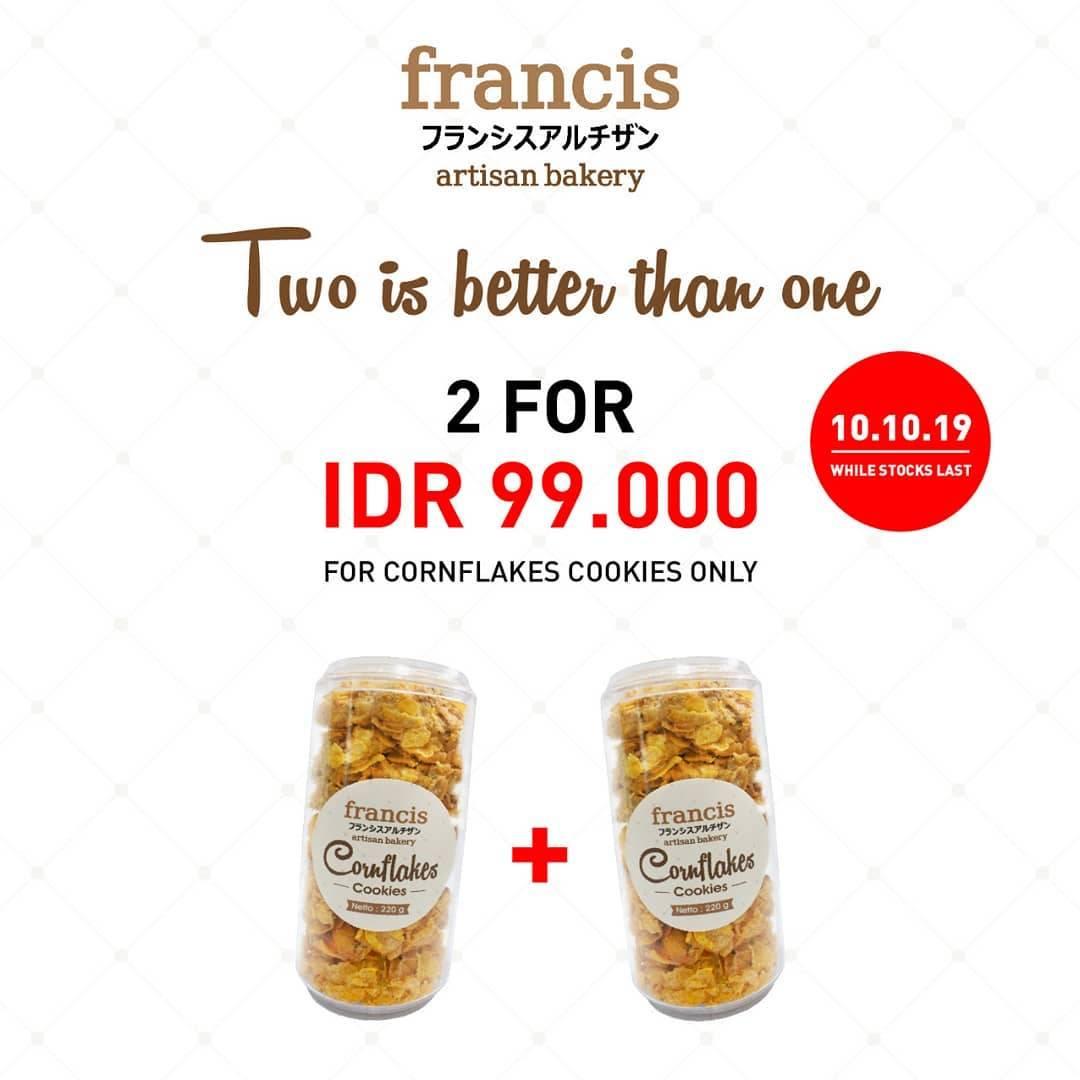 Francis Artisan Bakery 10.10 Deals, Beli 2 Cornflakes Cookies Hanya Rp. 99.000