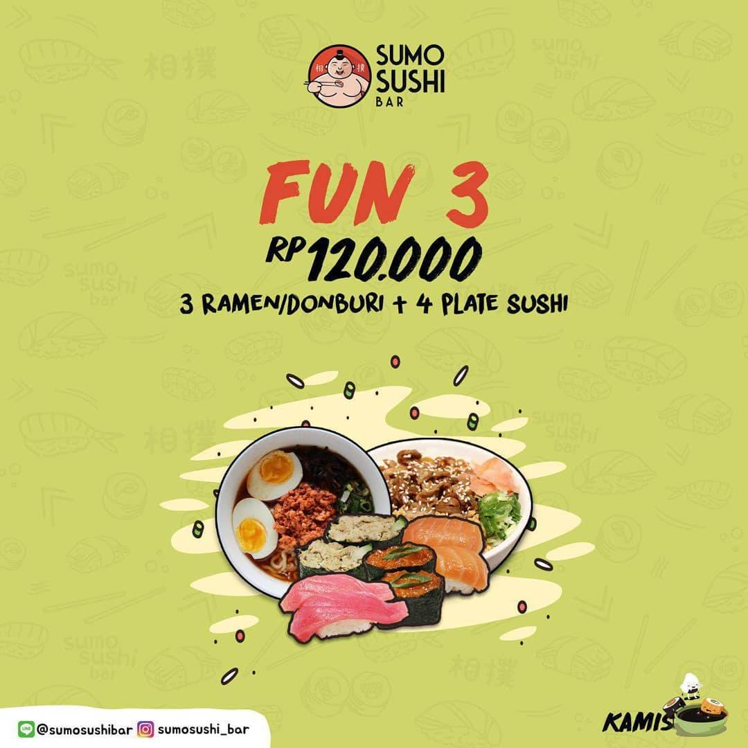 Sumo Sushi Bar Promo Fun 3 (3 Ramen/Donburi + 4 Plate Sushi) Only 120.000