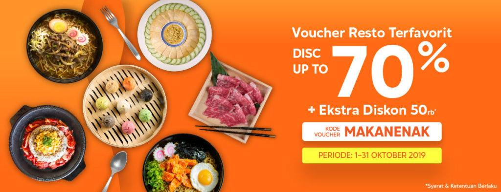 Blibli.com Promo Voucher Resto Terfavorit, Discount Up To 70% + Ekstra Diskon 50.000!