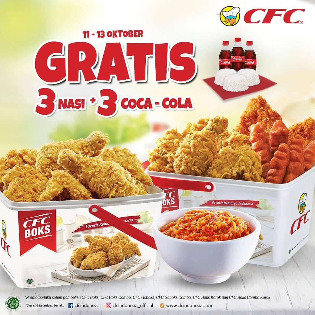 CFC Promo Gratis 3 Nasi + 3 Coca Cola Setiap Pembelian Paket CFC Boks