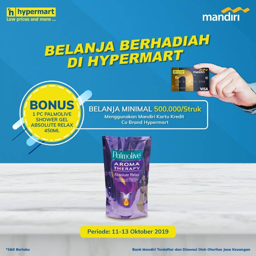 Hypermart Promo Gratis 1 Pc Palmolive Shower Gel Absolute Relax 450 ml Dengan Kartu Kredit Mandiri