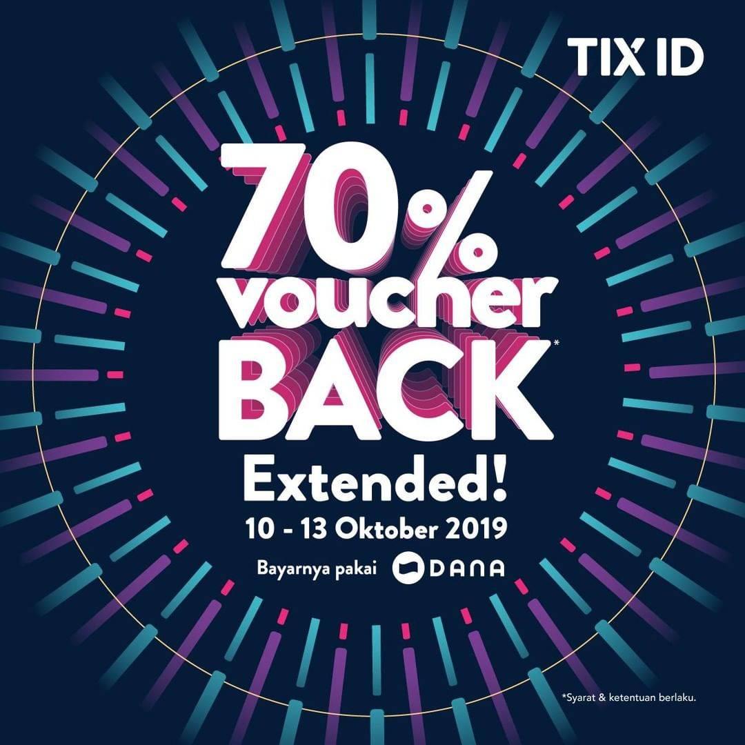 Tix-Id Promo Voucher CashBack 70% Dari Tix Id Dan Dana