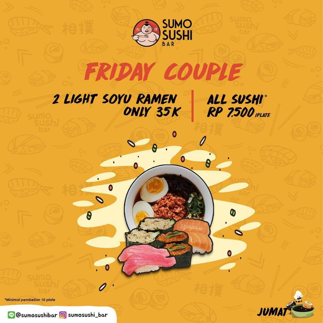 Sumo Sushi Bar Promo Friday Couple All Sushi Only Rp.7.500,-