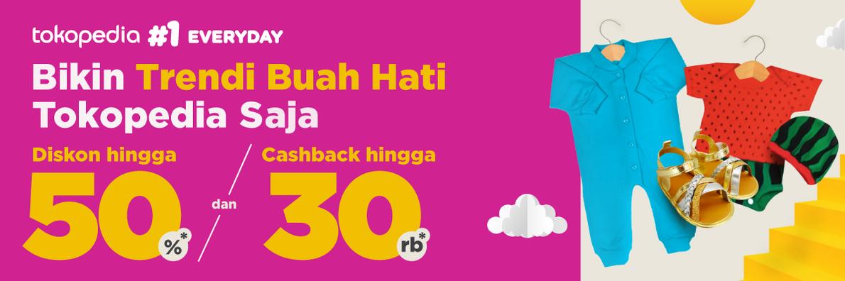 Diskon Tokopedia.com Promo Pakaian Anak Diskon Hingga 50% + Cashback Hingga 30%!