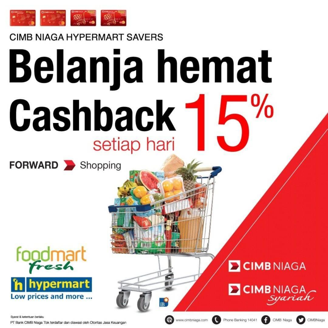 Diskon Hypermart Promo Cashback 15% Untuk Transaksi Dengan Kartu CIMB Niaga Hypermart Savers