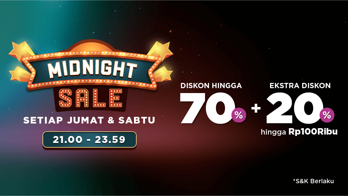 Tokopedia Midnight Sale, Discount Up To 70% + Ekstra Diskon Hingga 20%