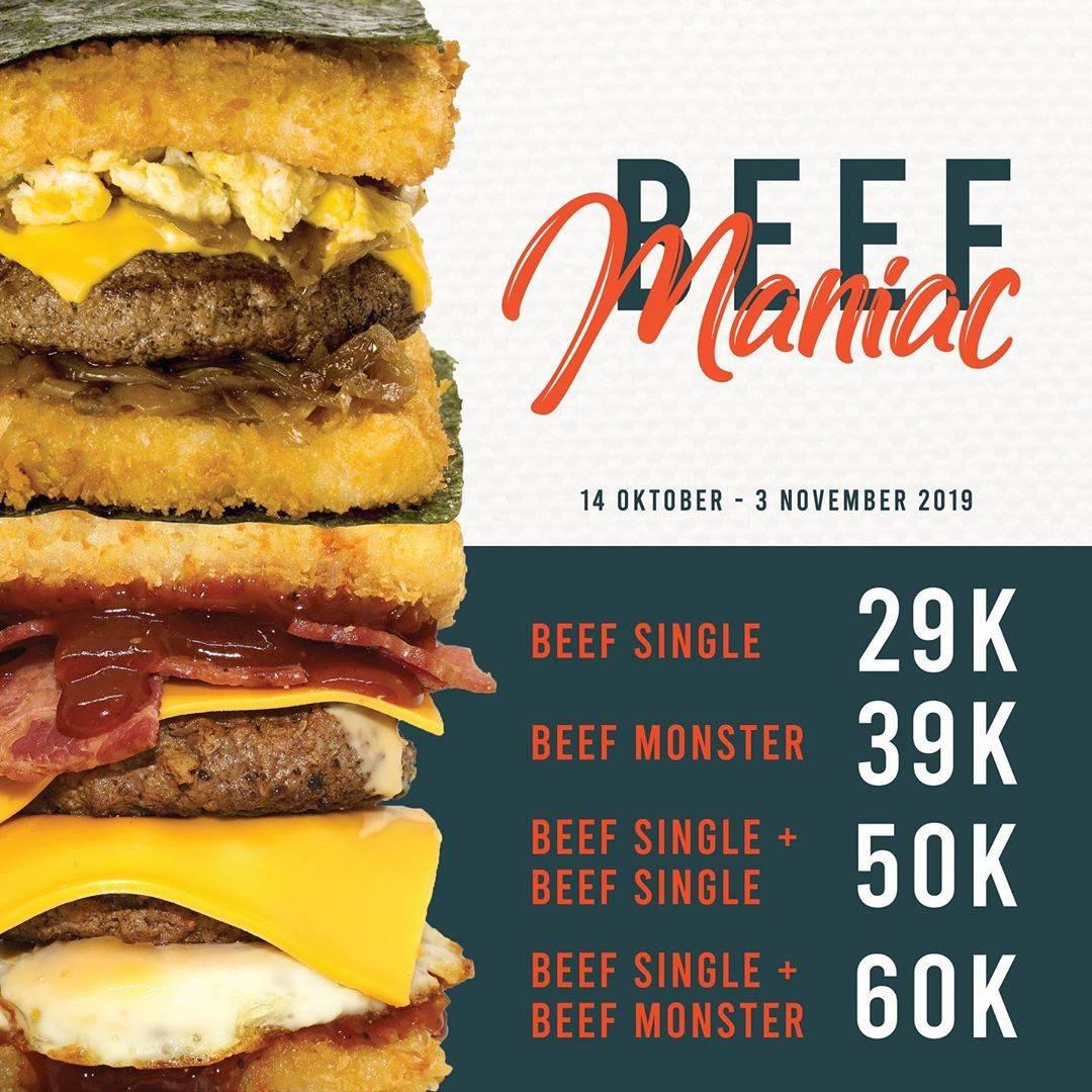 Diskon Burgushi Promo Beef Maniac Start Mual Rp. 29.000