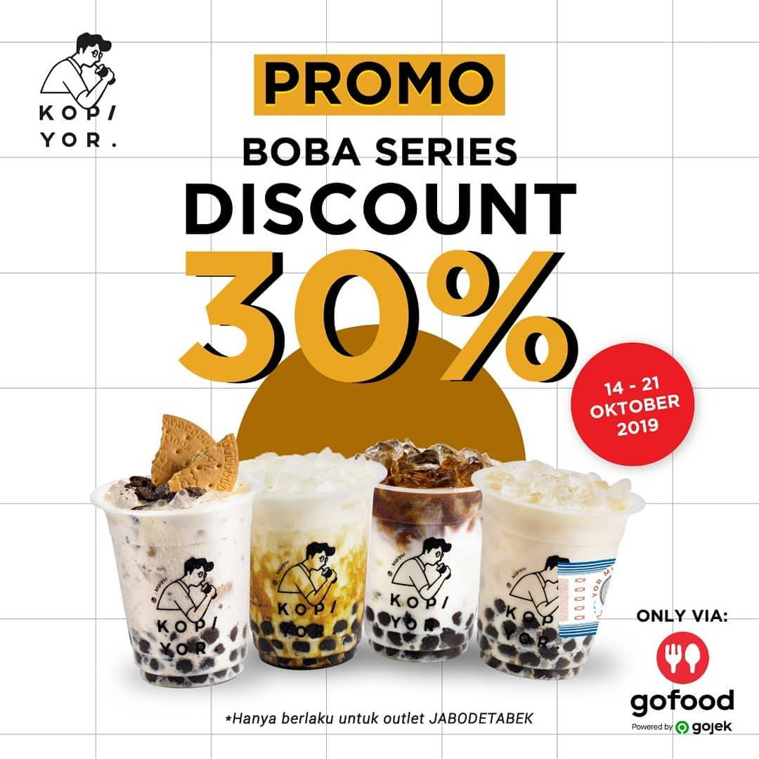 Kopi Yor Diskon 30% Boba Series via GoFood