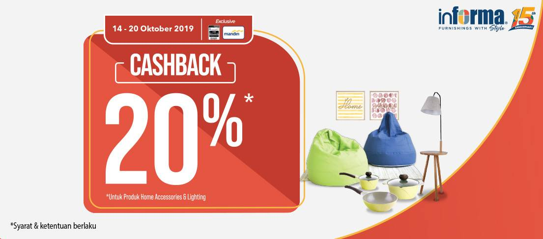 Informa Promo Cashback 20% untuk Home Accessories & Lighting