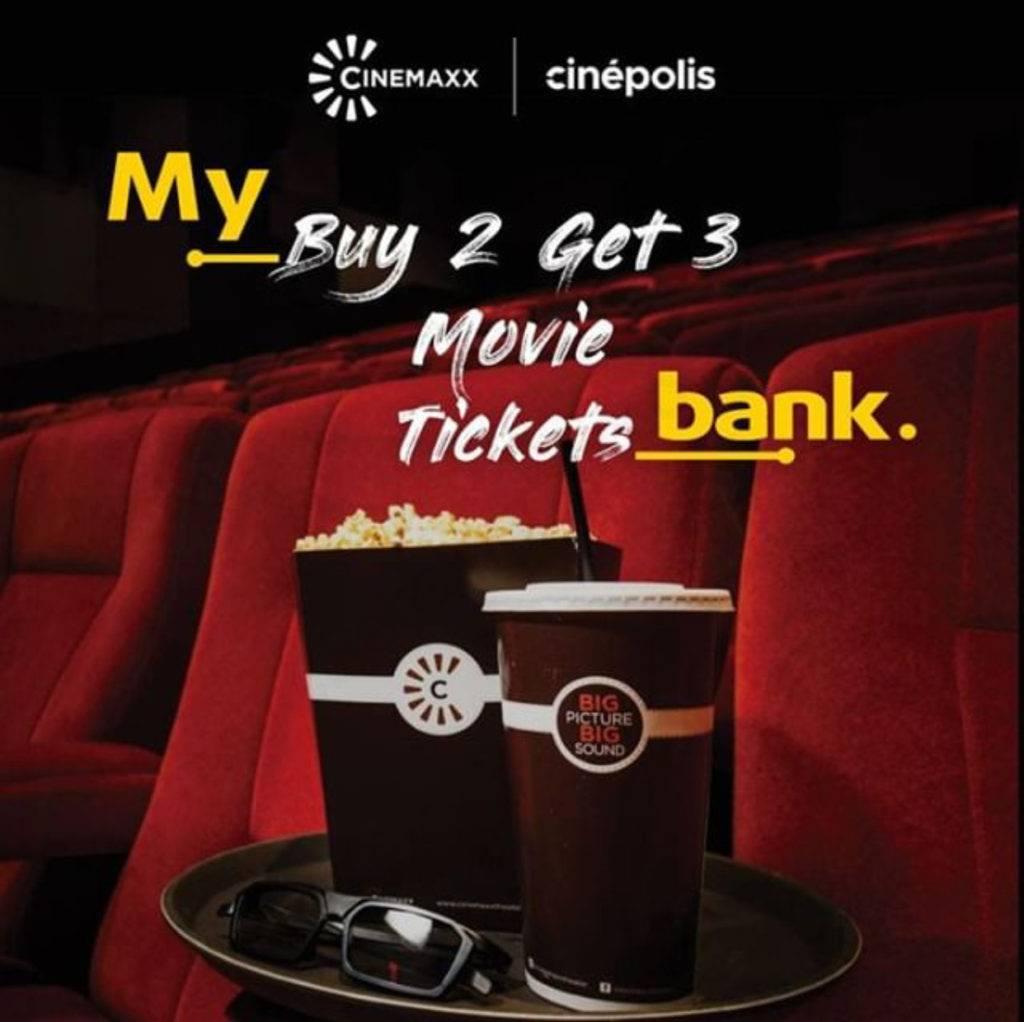 Cinemaxx Promo Beli 2 dapat 3 tiket setiap Rabu dengan Kartu Kredit Maybank